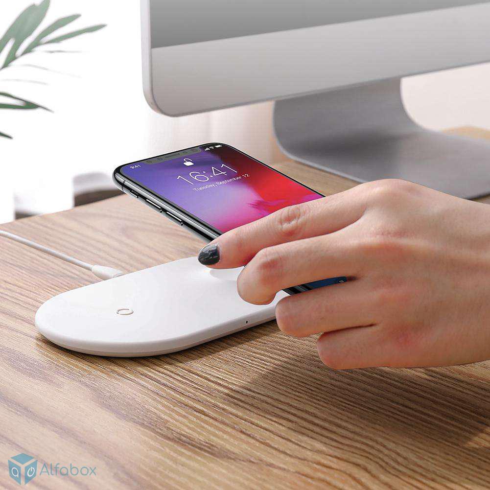 Baseus 2in1 Wireless Charger Pad White купить с доставкой