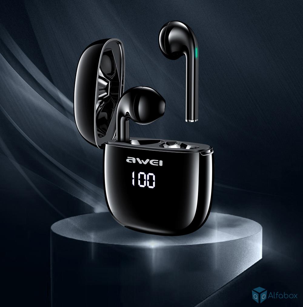 Беспроводные наушники со светодиодным дисплеем AWEI T28P TWS Bluetooth Earphones Black купить