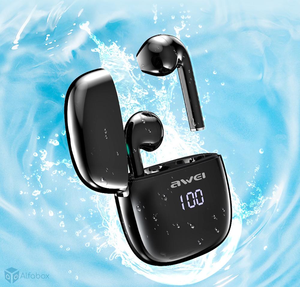купить наушники со светодиодным дисплеем AWEI T28P TWS Bluetooth Earphones Black