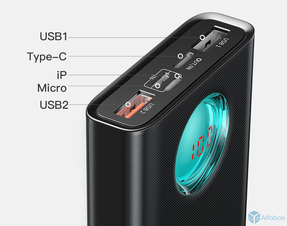 Внешний аккумулятор (Power Bank) Baseus Amblight Digital Display 20000 mAh Black (PPALL-LG01) купить в киеве