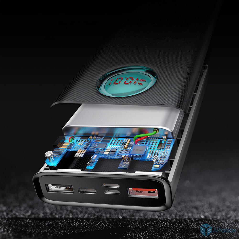 Внешний аккумулятор (Power Bank) Baseus Amblight Digital Display 20000 mAh Black (PPALL-LG01) купить в украине